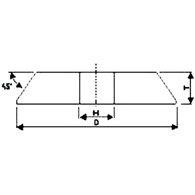 Brousící kotouč zkosený dvouvrstvý 175 x 8 x 20 mm