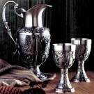 Cínová sada na víno - džbán a dva poháry