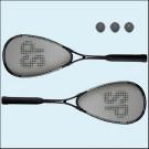 SQUASH SADA 2 raket + 3 x míček   - pro začátečníky