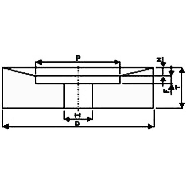 Brousící kotouč s jednostranným zkoseným vybráním 400 x 50 x 127 mm